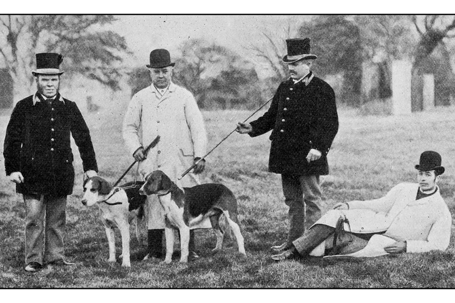 antique dotprinted photograph of Hobbies and Sports _ Men with dogs