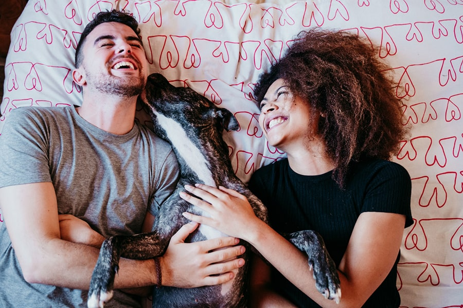 man having face licked by a dog as woman laughs